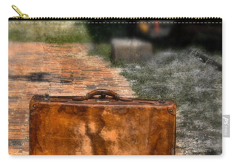 Suitcase Carry-all Pouch featuring the photograph Vintage Suitcase By Train by Jill Battaglia