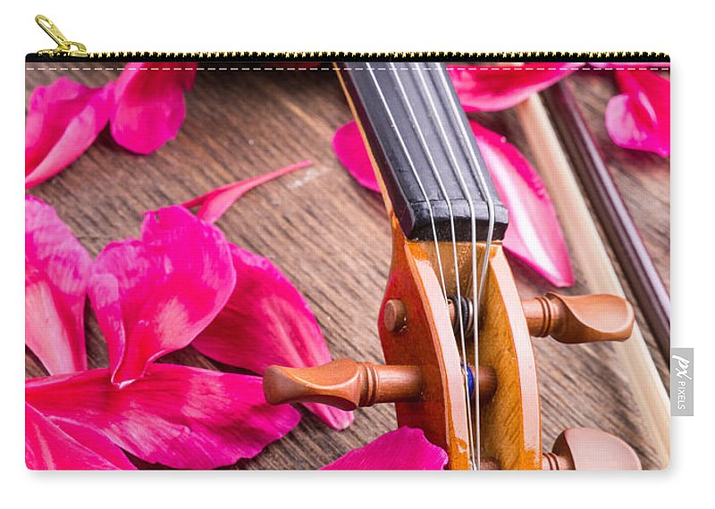 Music Carry-all Pouch featuring the photograph Violin And Roses by Edward Fielding