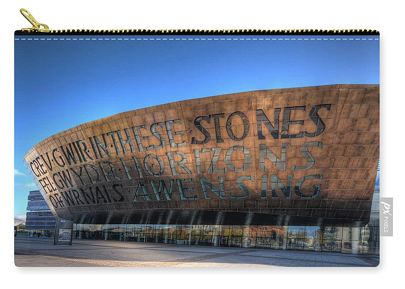Wales Millenium Centre Carry-all Pouch featuring the photograph Wales Millenium Centre 3 by Steve Purnell