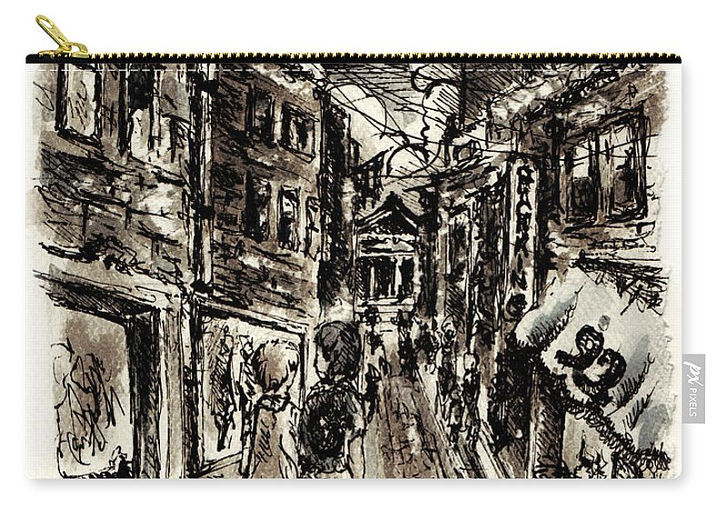City Carry-all Pouch featuring the painting Walkin In The City by William Russell Nowicki