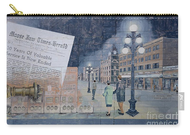 Mural Carry-all Pouch featuring the photograph Wall Art Moose Jaw 2 by Bob Christopher