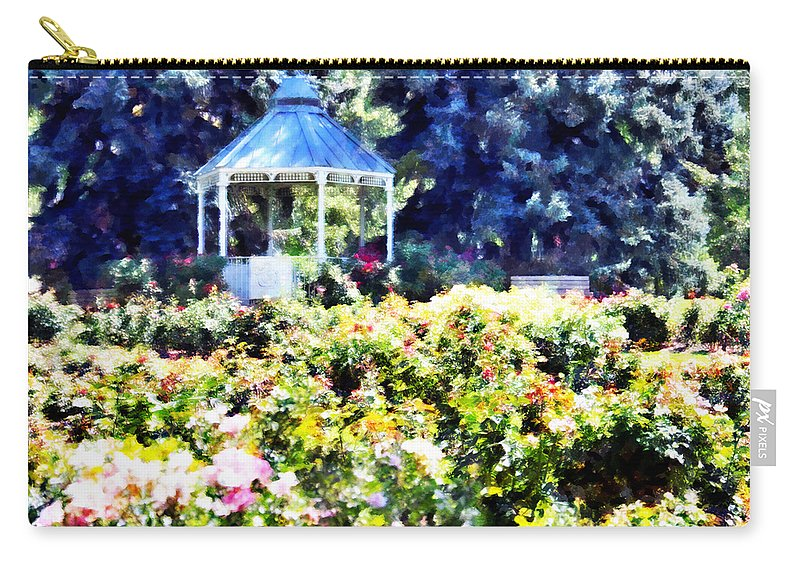 War Carry-all Pouch featuring the mixed media War Memorial Rose Garden 3 by Angelina Vick