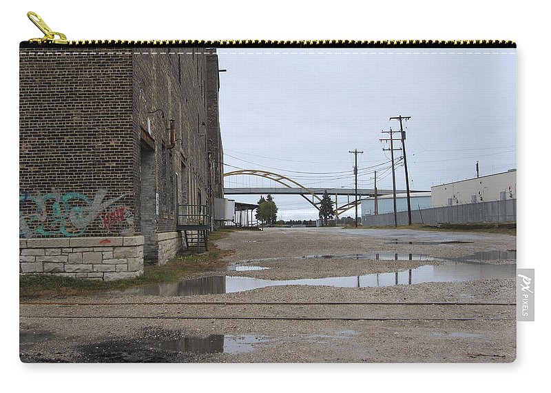 Milwaukee Carry-all Pouch featuring the photograph Warehouse And Hoan 1 by Anita Burgermeister