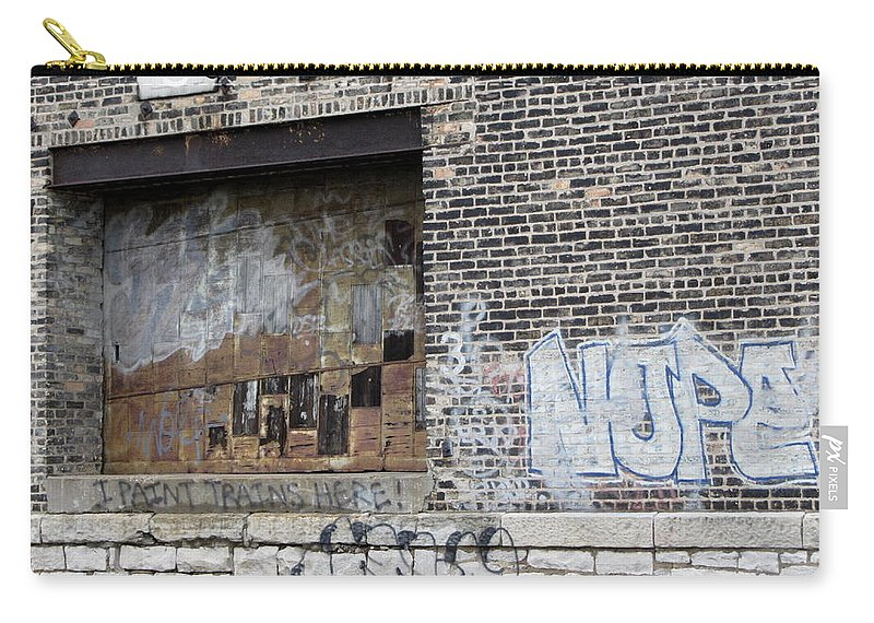 Milwaukee Carry-all Pouch featuring the photograph Warehouse Grafitti 2 by Anita Burgermeister