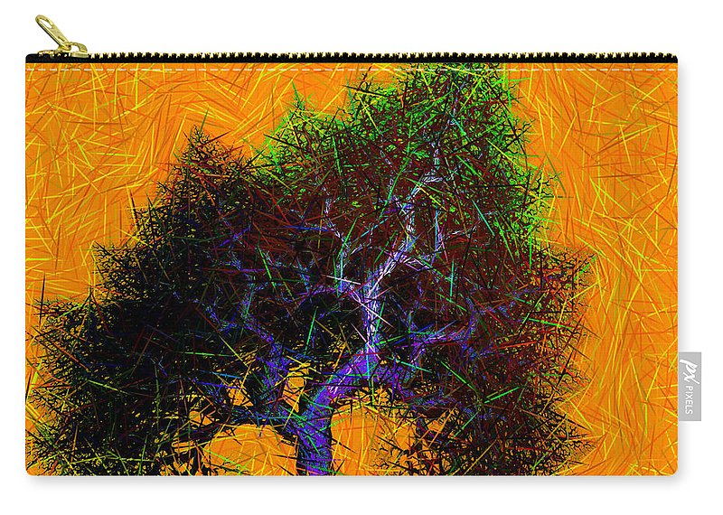 Tree Carry-all Pouch featuring the digital art Was A Crooked Tree Grunge Art by Richard Ortolano