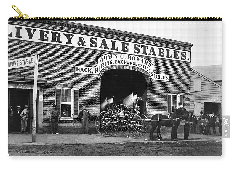 1865 Carry-all Pouch featuring the photograph Washington: Stables, 1865 by Granger
