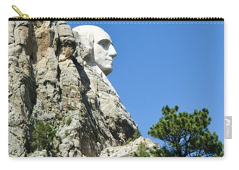 Mount Rushmore Carry-all Pouch featuring the photograph Washinton On Mt Rushmore by Jon Berghoff