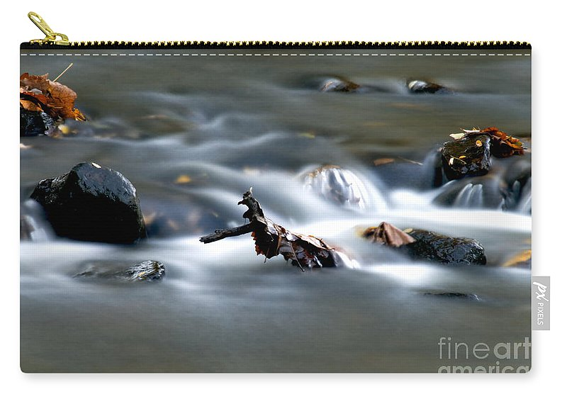Flowing Water In Brook Carry-all Pouch featuring the photograph Water Cascades by Optical Playground By MP Ray