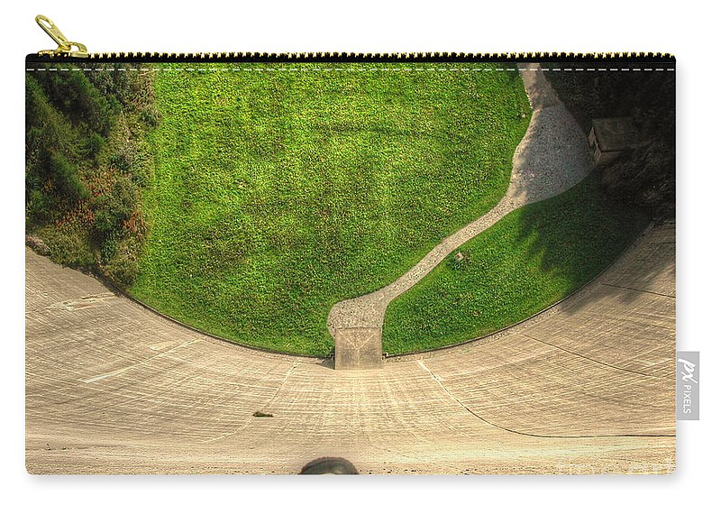 Water Dam Carry-all Pouch featuring the photograph Water Dam And A Shoe by Mats Silvan