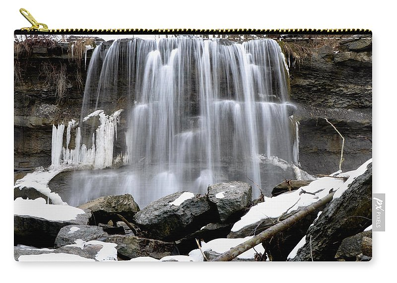 Water Carry-all Pouch featuring the photograph Water Falls At Rock Glen by Ronald Grogan