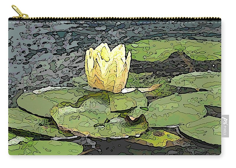 Lily Carry-all Pouch featuring the digital art Water Lily Cometh by Tim Allen