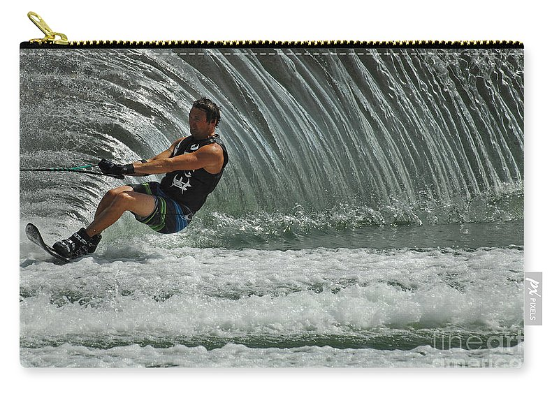 Water Skiing Carry-all Pouch featuring the photograph Water Skiing Magic Of Water 3 by Bob Christopher