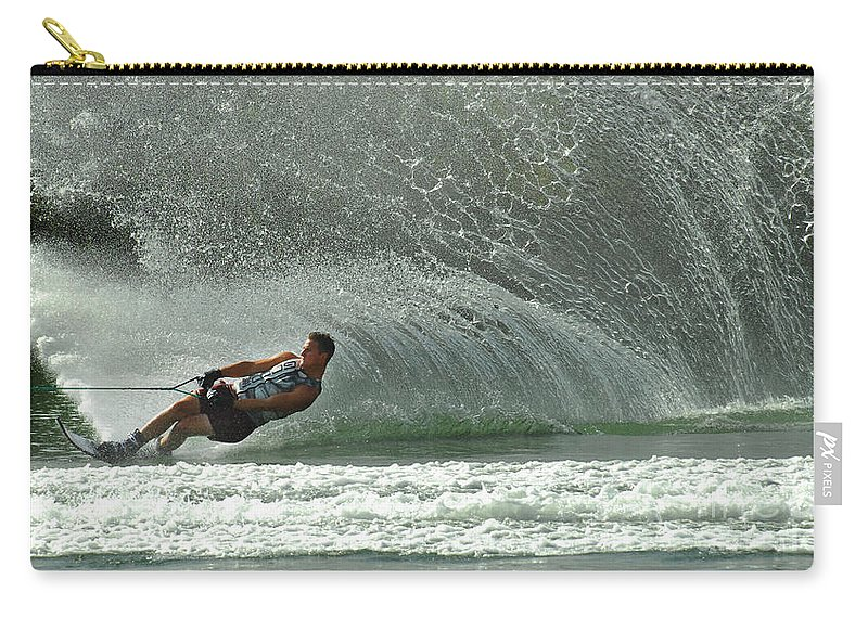 Water Skiing Carry-all Pouch featuring the photograph Water Skiing Magic Of Water 7 by Bob Christopher
