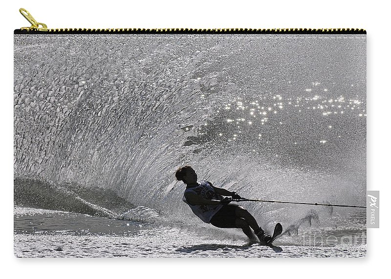 Water Skiing Carry-all Pouch featuring the photograph Waterskiing 1 by Vivian Christopher