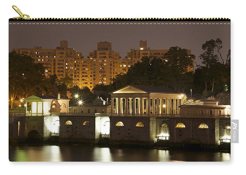 Waterworks Restaurant Nighttime Scenic Night Apartments Philadelphia Philly Pa Carry-all Pouch featuring the photograph Waterworks At Dusk by Alice Gipson
