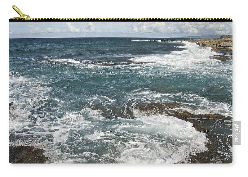 Landscape Carry-all Pouch featuring the photograph Waves Breaking On Shore 7918 by Michael Peychich