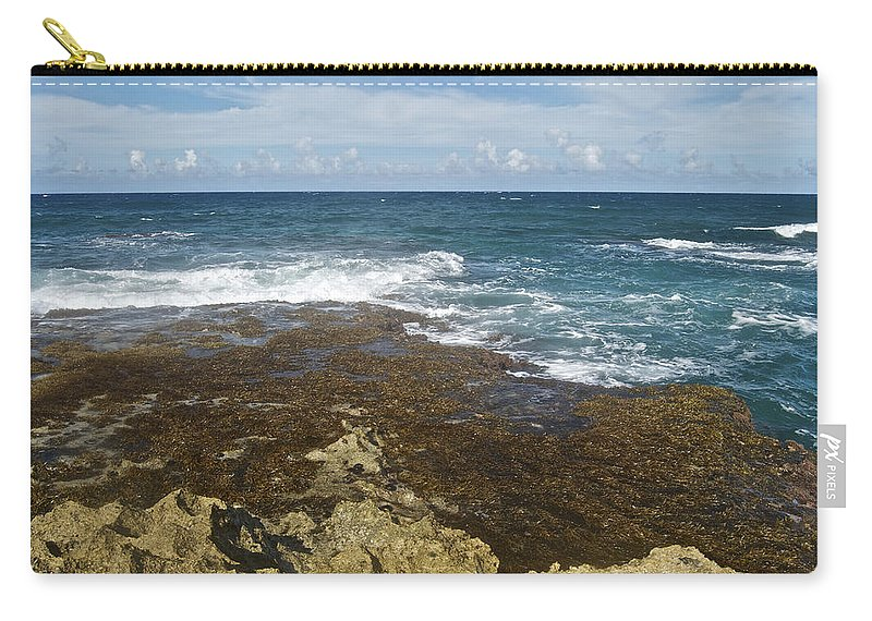 Landscape Carry-all Pouch featuring the photograph Waves Breaking On Shore 7930 by Michael Peychich