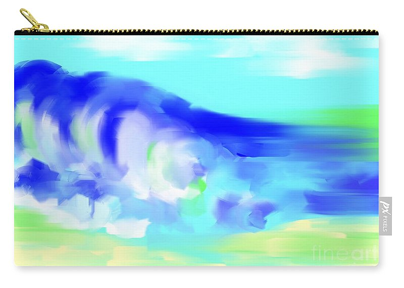 Seascape Carry-all Pouch featuring the painting Waves Crashing On The Beach by George Pedro