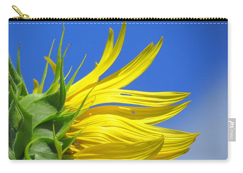 Sunflowers Carry-all Pouch featuring the photograph Waving Goodbye To Summer by Lori Pessin Lafargue