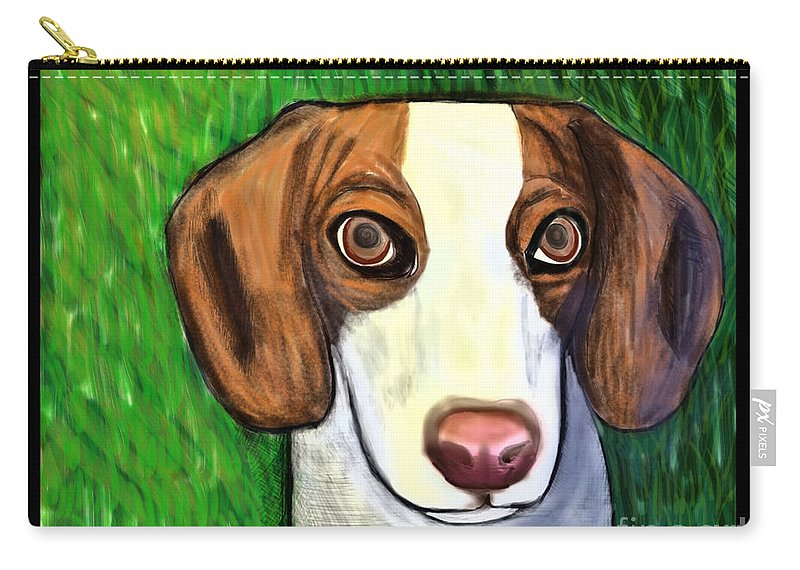 Beagle Carry-all Pouch featuring the painting Wee Beagle by Rebecca Stephens