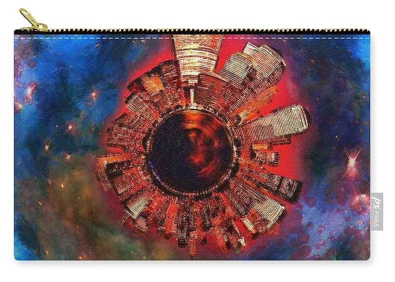 Manhattan Carry-all Pouch featuring the digital art Wee Manhattan Planet - Artist Rendition by Nikki Marie Smith