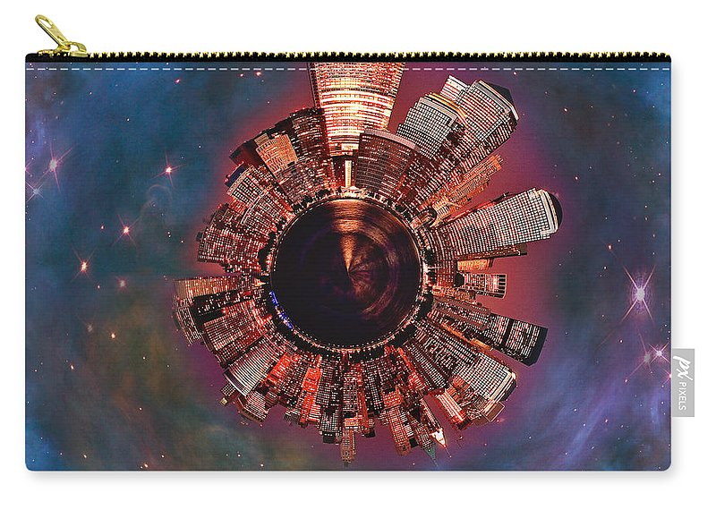 Manhattan Carry-all Pouch featuring the digital art Wee Manhattan Planet by Nikki Marie Smith