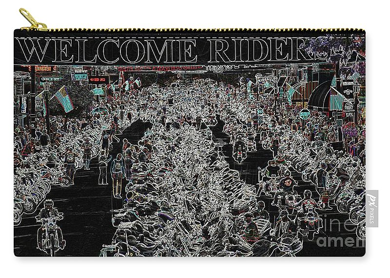 Harley Davidson Carry-all Pouch featuring the photograph Welcome Riders by Anthony Wilkening