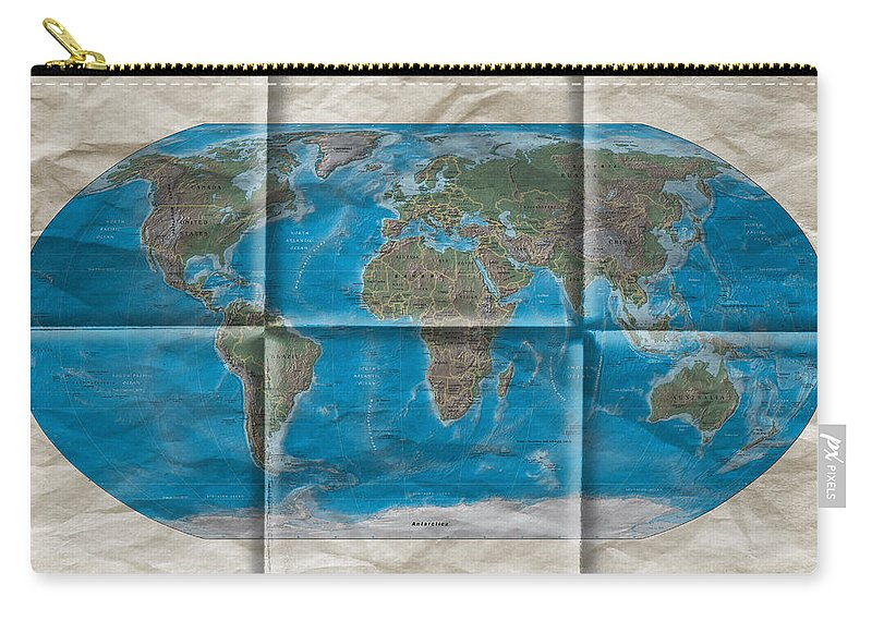World Map Carry-all Pouch featuring the photograph Well Worn World by Steve Purnell