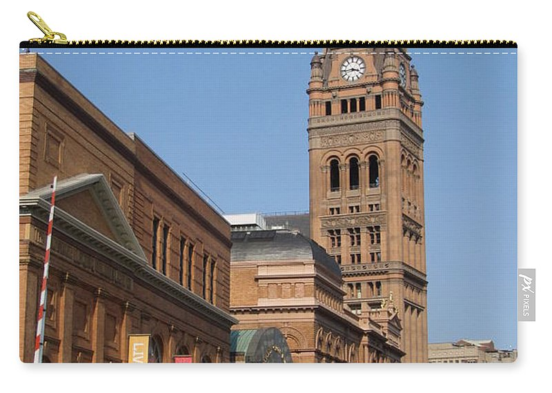 Milwaukee Carry-all Pouch featuring the photograph Wells Street Theater District And City Hall by Anita Burgermeister