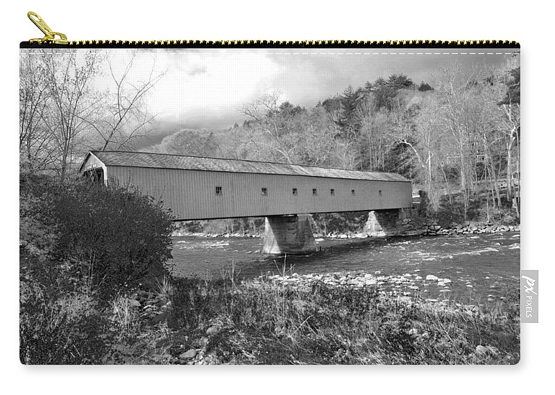 Bridge Carry-all Pouch featuring the photograph West Cornwall Connecticut Covered Bridge Black And White by Glenn Gordon