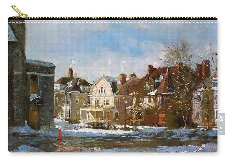 Houses Carry-all Pouch featuring the painting West Ferry Street by Ylli Haruni