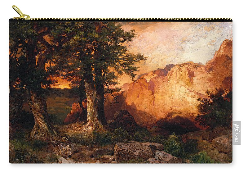 Thomas Moran Carry-all Pouch featuring the painting Western Sunset by Thomas Moran