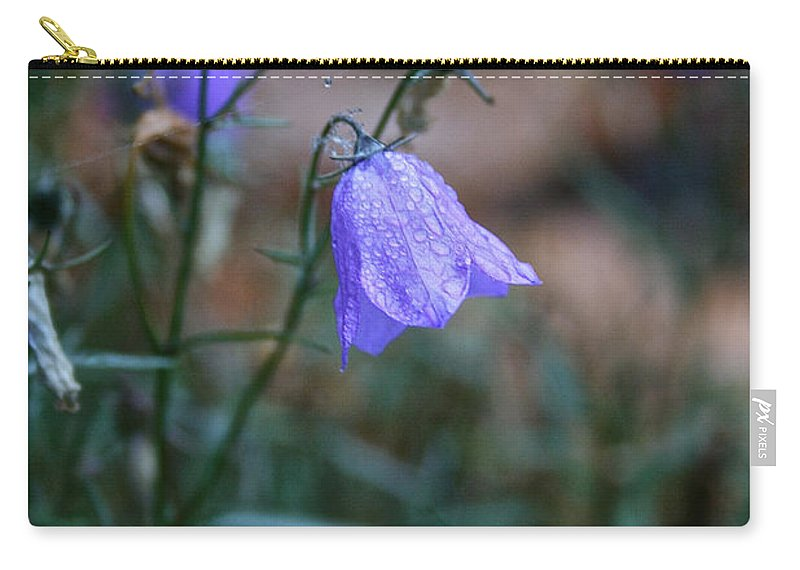 Flower Carry-all Pouch featuring the photograph Wet Bellflower by Susan Herber