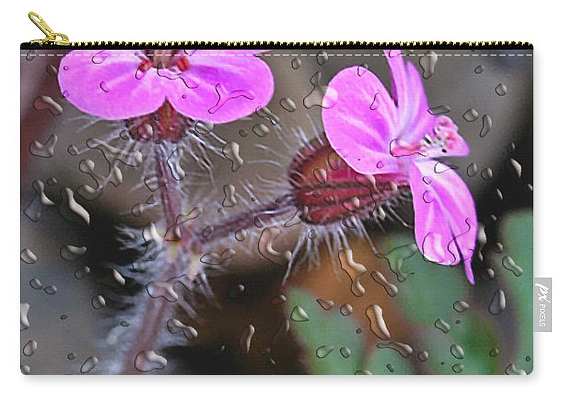 Flower Carry-all Pouch featuring the photograph Wet Geranium by Jean Noren
