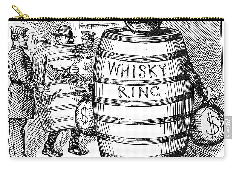 1875 Carry-all Pouch featuring the photograph Whisky Ring Cartoon, 1875 by Granger