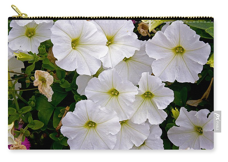 Flowers Carry-all Pouch featuring the photograph White Flowers by David Freuthal