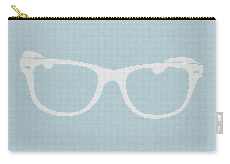 Glasses Carry-all Pouch featuring the digital art White Glasses by Naxart Studio