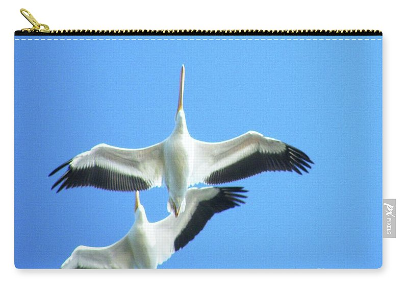 Pelicans Carry-all Pouch featuring the digital art White Pelicans In Flight by Lizi Beard-Ward
