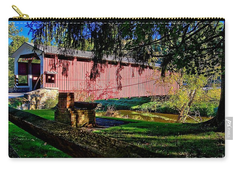 American Carry-all Pouch featuring the photograph White Rock Bridge by Nick Zelinsky