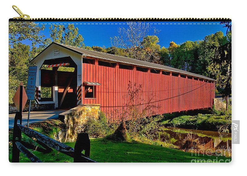 American Carry-all Pouch featuring the photograph White Rock Forge Covered Bridge by Nick Zelinsky