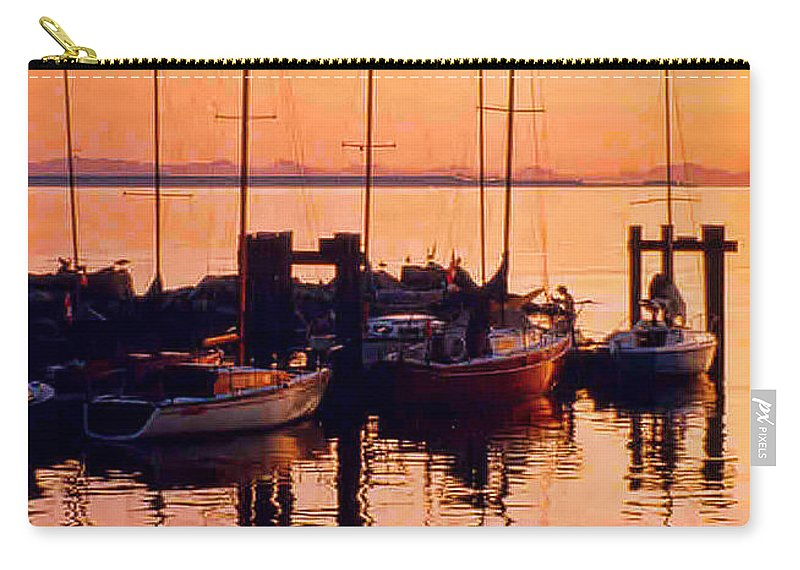 Boats Carry-all Pouch featuring the photograph White Rock Sailboats Hdr by Randy Harris