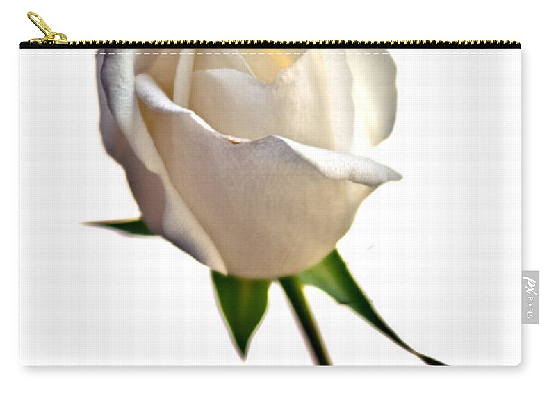 White Rose Carry-all Pouch featuring the photograph White Rose On White by Randall Branham