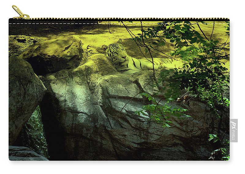 Tiger Carry-all Pouch featuring the photograph White Tiger by Douglas Barnard