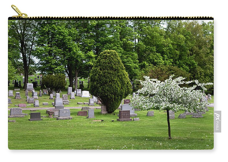 White Flowering Tree Carry-all Pouch featuring the photograph White Tree In Cemetery by Lorraine Devon Wilke