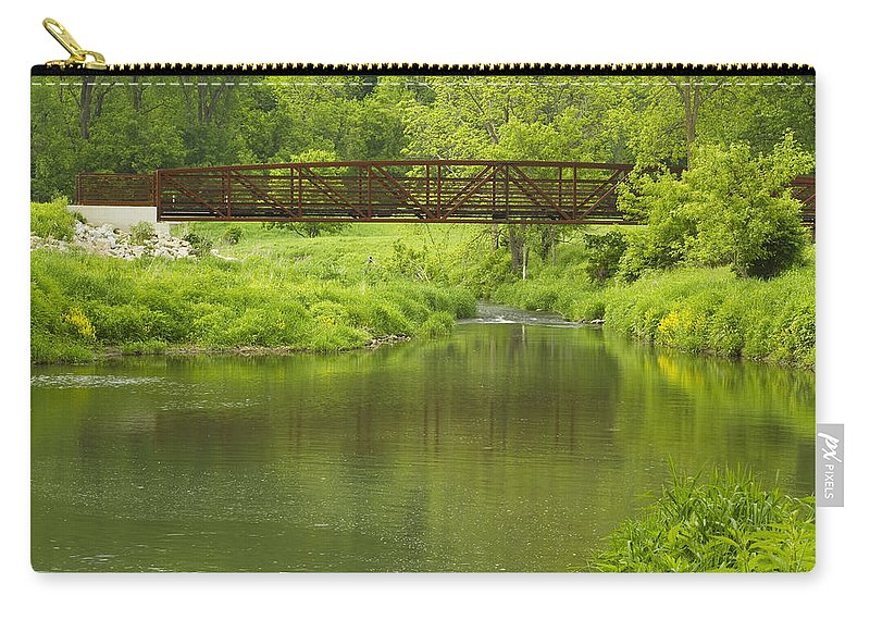 Footbridge Carry-all Pouch featuring the photograph Whitewater River Spring 7 Bridge by John Brueske