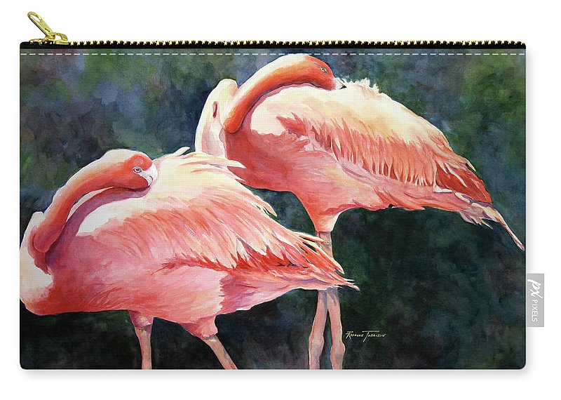 Flamingos Carry-all Pouch featuring the painting Who's Peek'n - Flamingos by Roxanne Tobaison