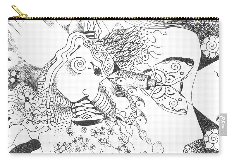 Sacred Carry-all Pouch featuring the drawing Why Not Flowers by Helena Tiainen