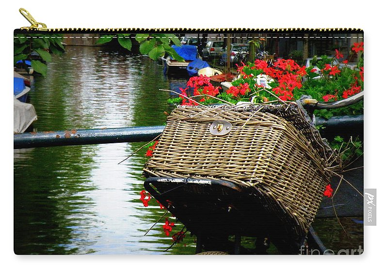 Bicycle Carry-all Pouch featuring the photograph Wicker Bike Basket With Flowers by Lainie Wrightson