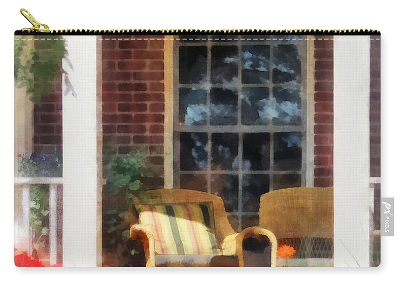 Chair Carry-all Pouch featuring the photograph Wicker Chair With Striped Pillow by Susan Savad