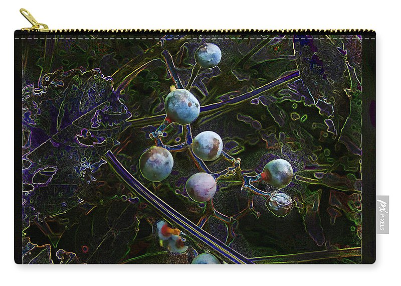 Nature Carry-all Pouch featuring the digital art Wild Grapes Abstracted by Debbie Portwood
